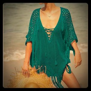 Peacock green knitted swimsuit cover up/top